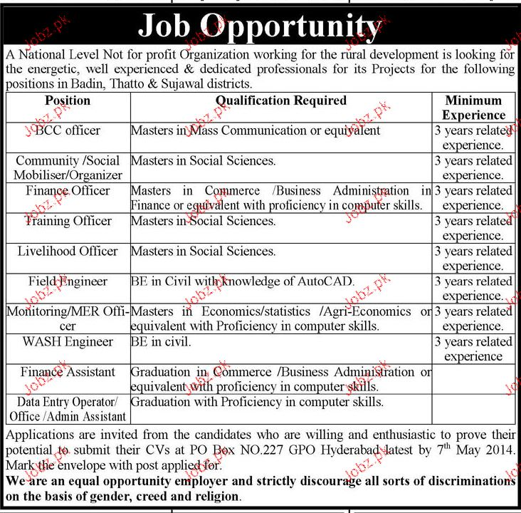 BCC Officers, Social Mobilizers, Training Officer Wanted