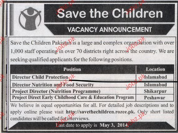 Director Child Protection, Project Director Nutrition Wanted