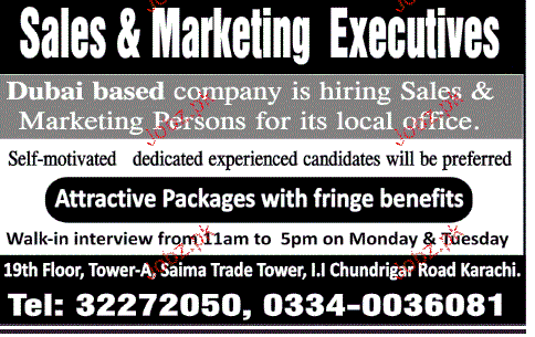 Sales and Marketing Executives Job Opportunity