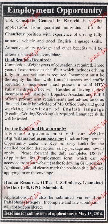 Chauffeur Job in US Consulate General Karachi