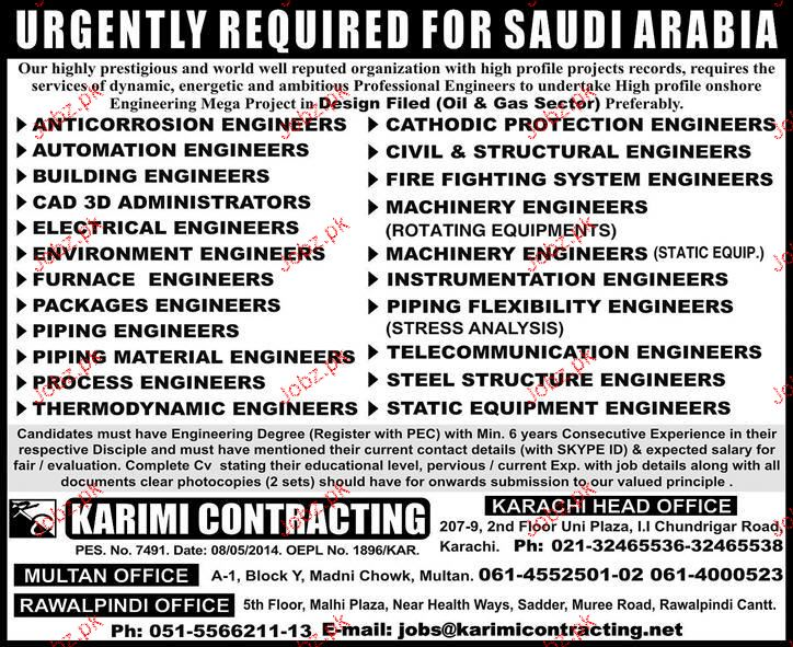 Furnace Engineers, Piping Engineers Job Opportunity