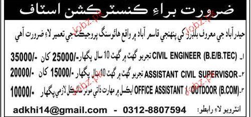 Civil Engineers, Assistant Civil Surveyors Job Opportunity
