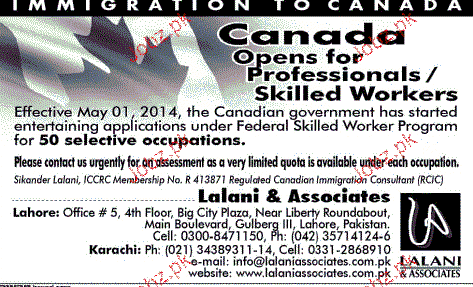 Professionals and Skilled Workers Job Opportunity