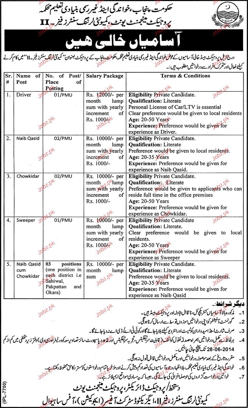 Drivers, Naib Qasid and Chawkidars Job Opportunity