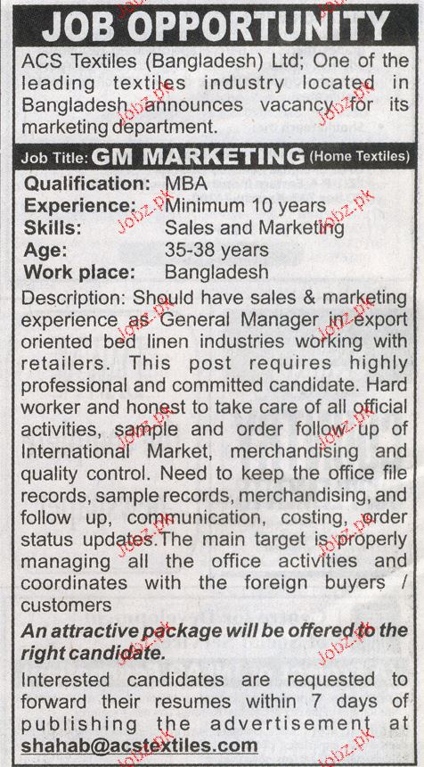 General Manager Marketing Job Opportunity