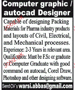 Computer Graphic  / Auto Cad Designers Wanted