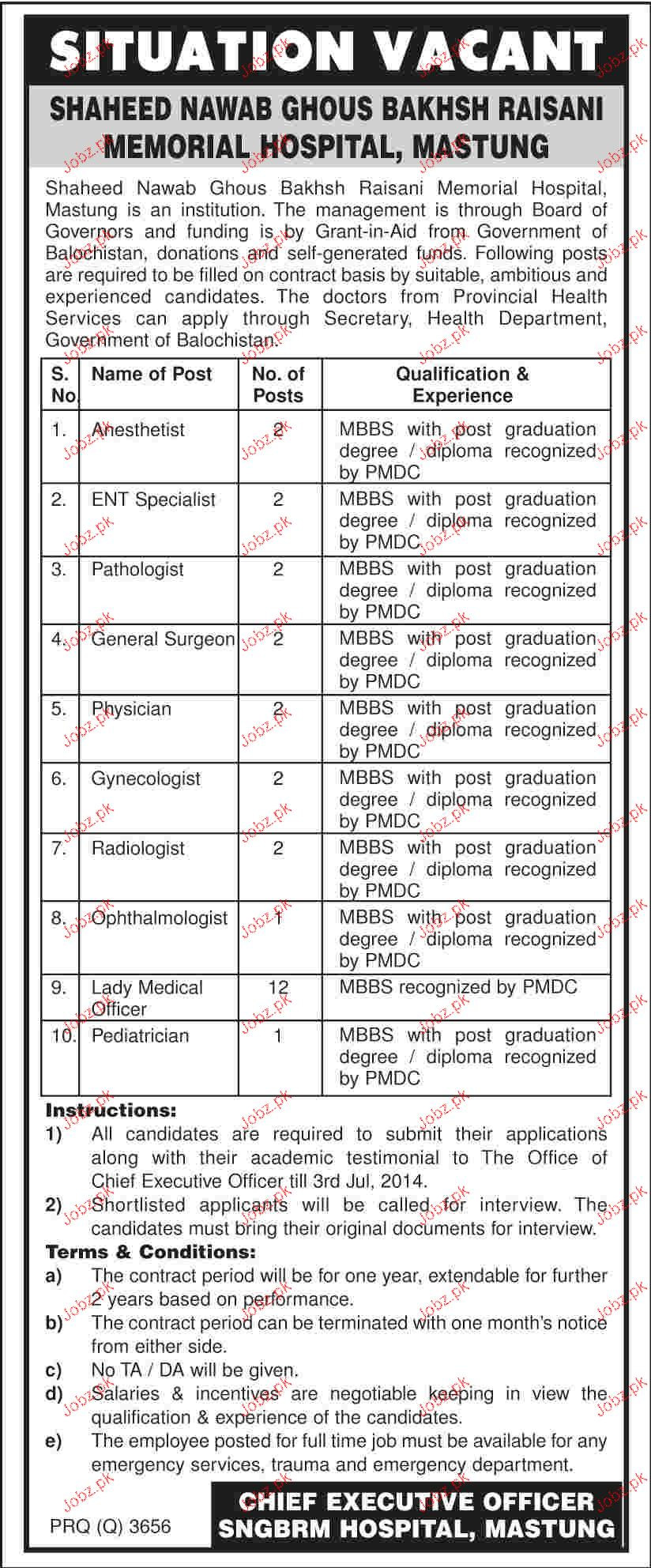 Anesthetist, ENT Specialist, Pahtologist Job Opportunity