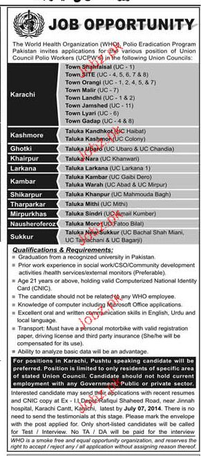 Union Council Polio Workers Job in WHO