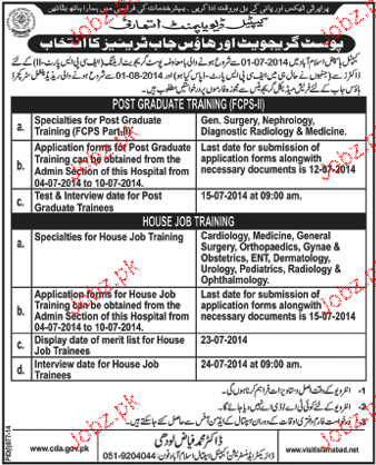 Doctors For House Job Required in CDA Hospital