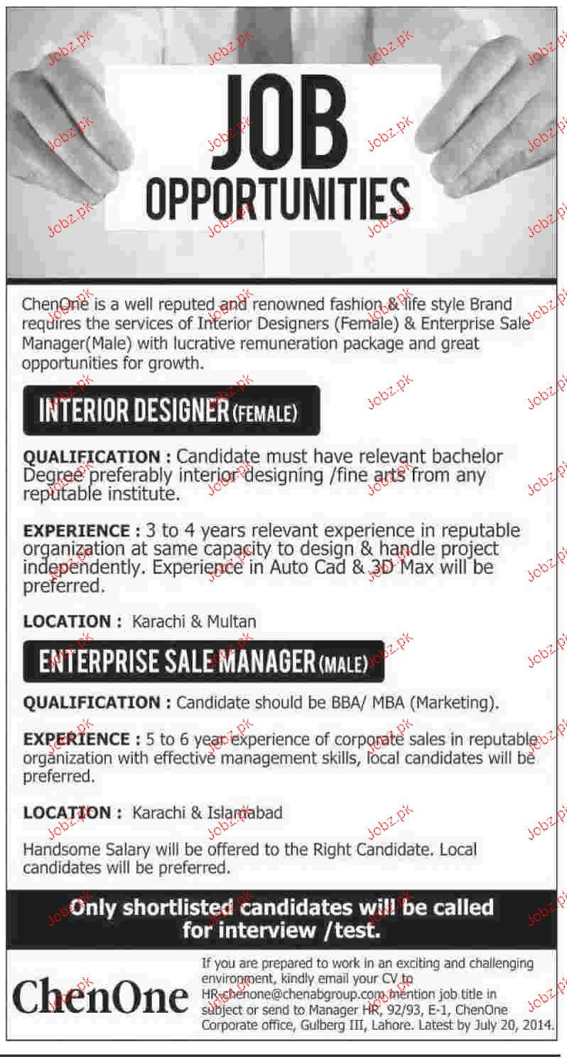 Interior Designers And Enterprise Sales Manager Wanted 2018 Jobs Pakistan