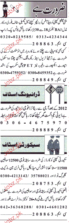 Sunday Jang Classified Drivers and Security Guards Wanted