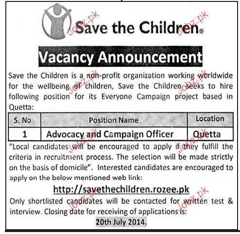 advocacy and campaign officer job in save the children 2018 jobs pakistan. Black Bedroom Furniture Sets. Home Design Ideas