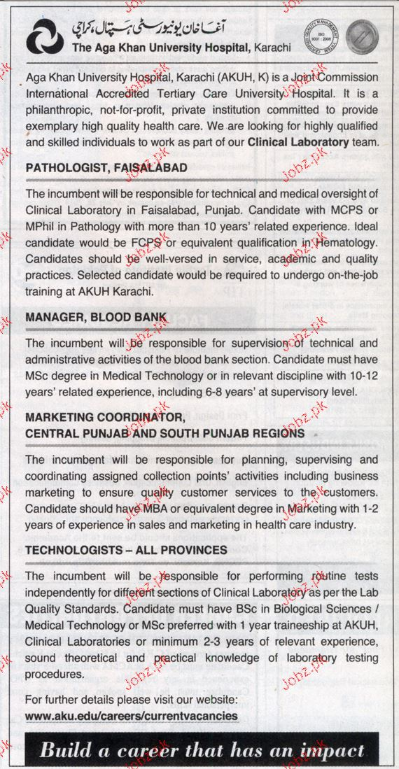 Pathologist, Manager Blood Bank Job Opportunity