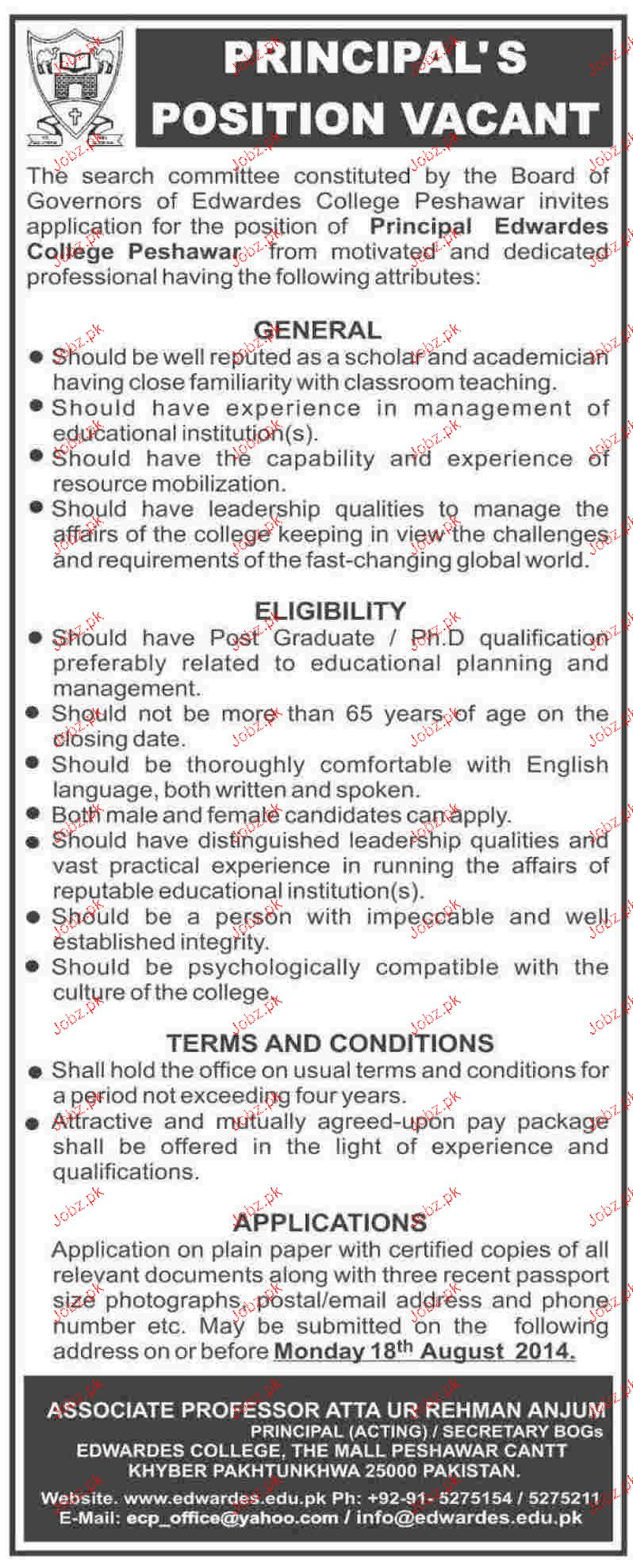 Principal Job in Edwardes College Peshawar