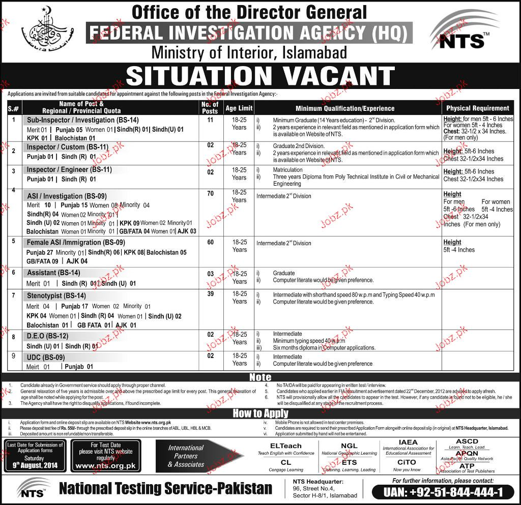 Sub Inspectors / Investigation, Assistants Job in FIA