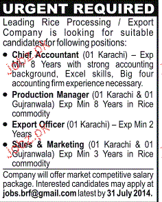 Chief Accountant, Export Officers and Marketing Staff Wanted
