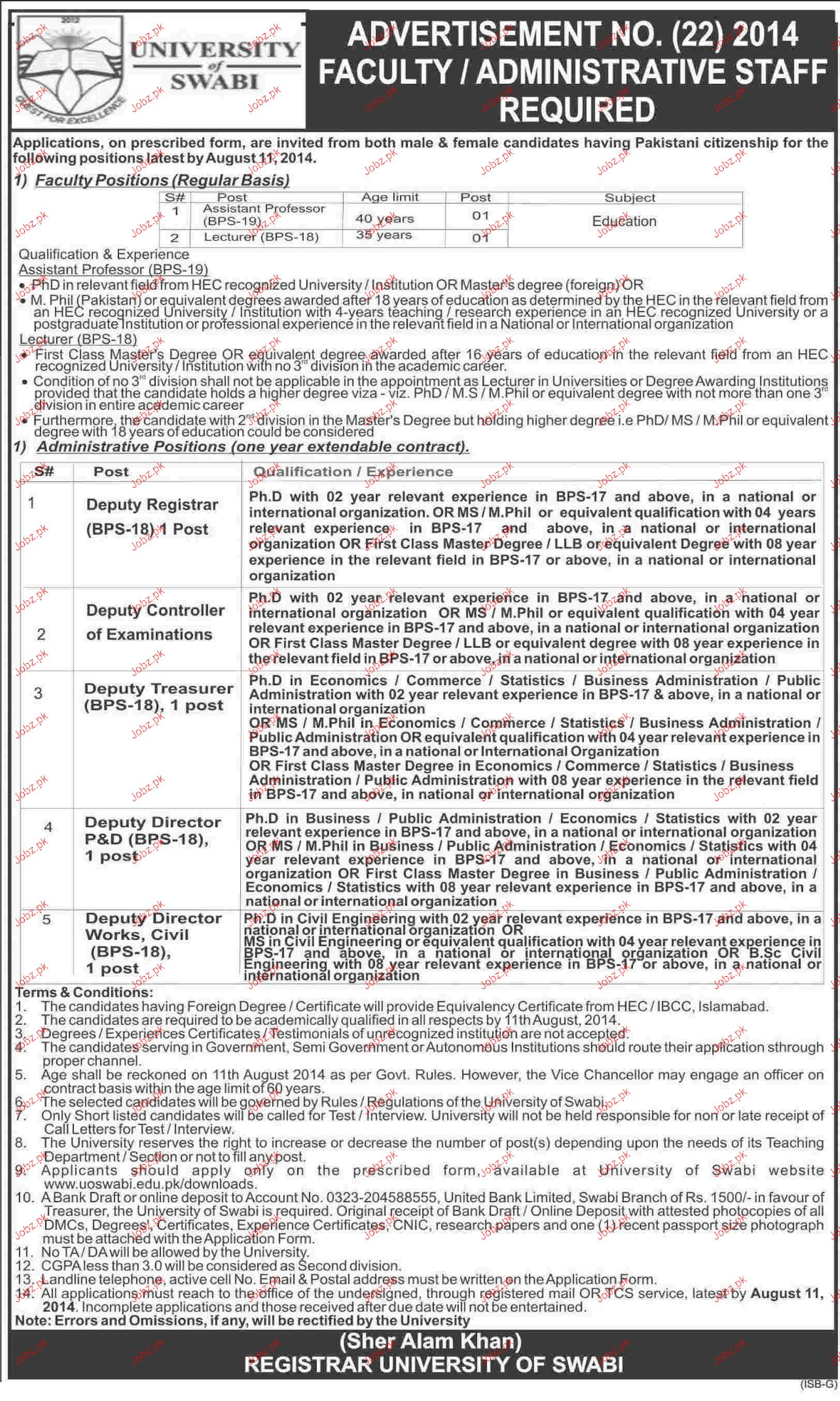 Assistant Professors, Lecturers Job in University of Swabi