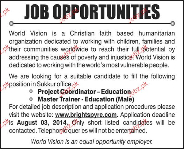 Project Coordinators and Master Trainers Job Opportunity