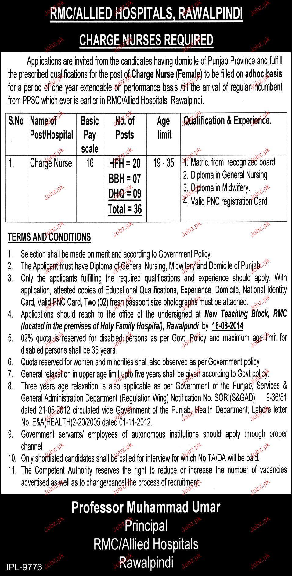 Charge Nurses Job in RMC / Allied Hospital Rawalpindi 2019 Job