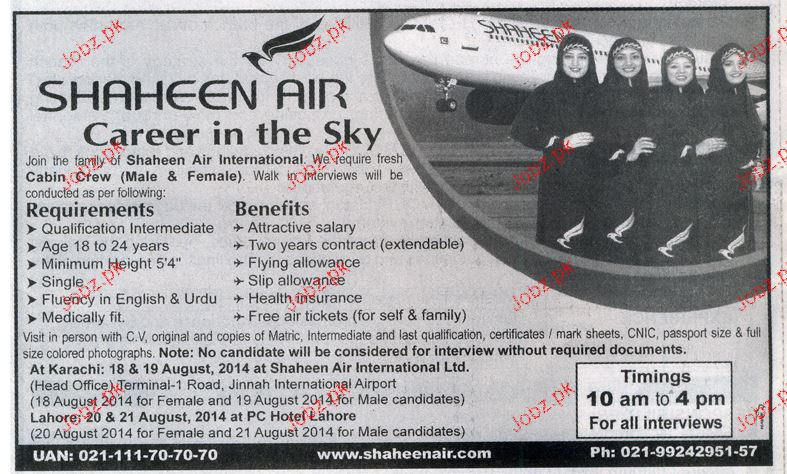 Cabin Crew Job In Shaheen Air 2018 Jobs Pakistan
