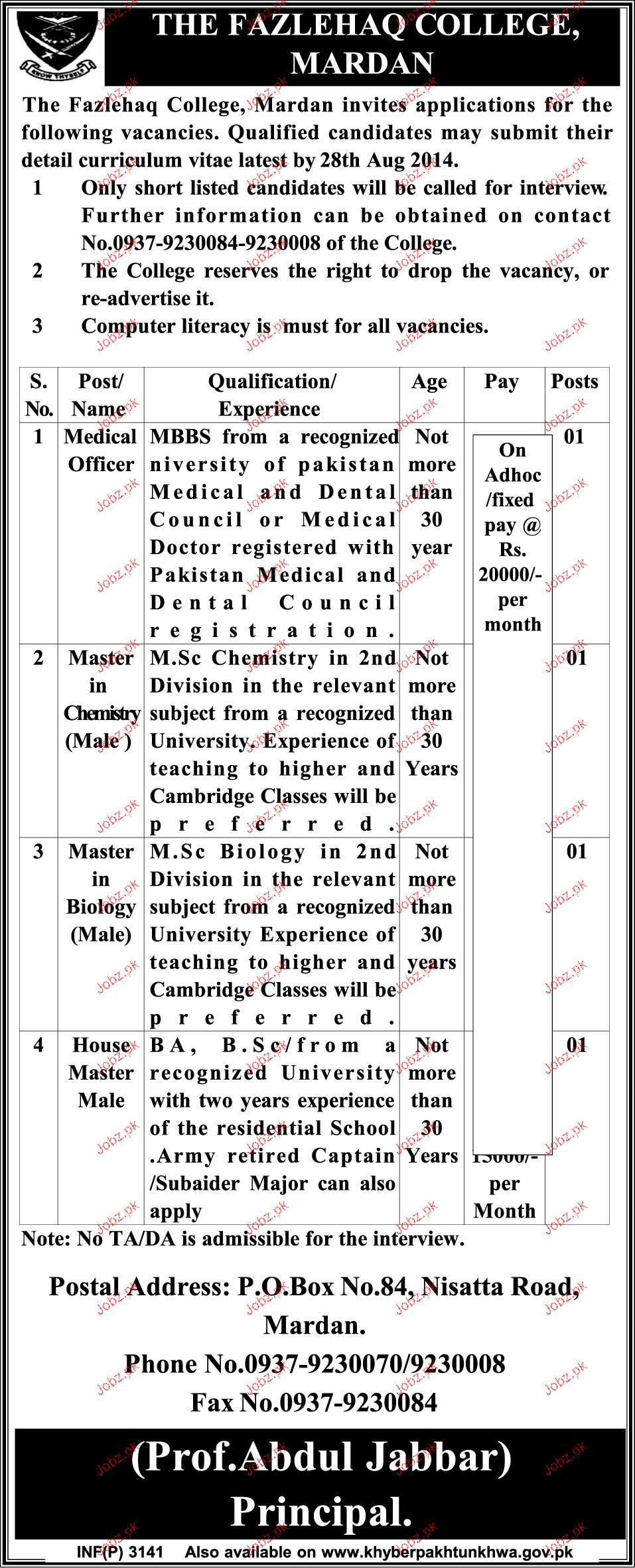 Medical Officers, Master Chemistry Job Opportunity
