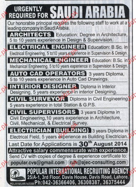 Architects, Electrical Engineers, Civil Surveyors Wanted