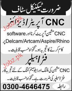 CNC Operators / Designers and Fitters / Helpers Wanted
