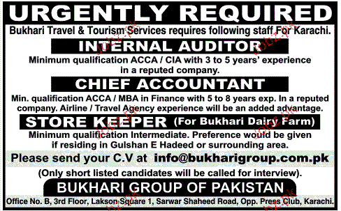 Internal Auditors, Chief Accountant Job Opportunity
