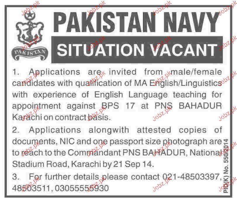 English Lecturers Job in Pakistan Navy 2019 Job