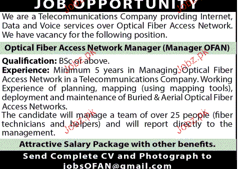 Optical Fiber Access Network Manager Job Opportunity