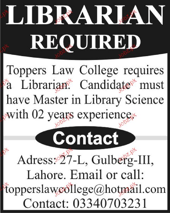 Librarian Job in Toppers Law College