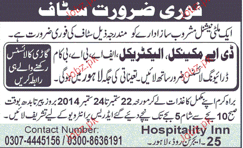 Mechanical / Electrical Diploma Holders Job Opportunity
