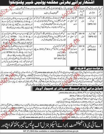 Data Processing Supervisors Job in KPK Police