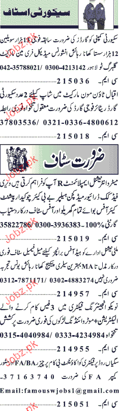 Electricians, Chawkidars, Security Guards Job Opportunity