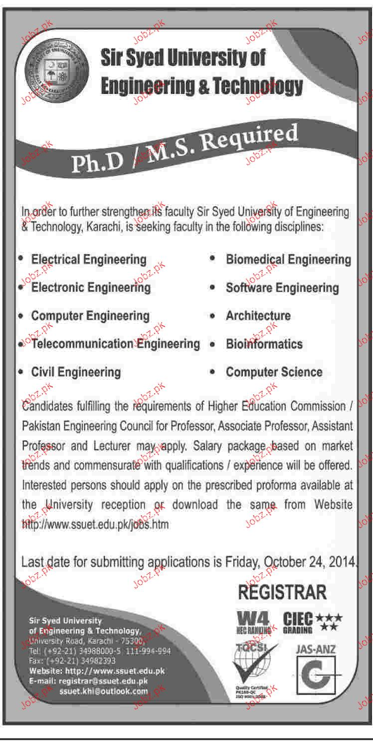 Teaching Faculty Job in Sir Syed University of Engineering & 2019