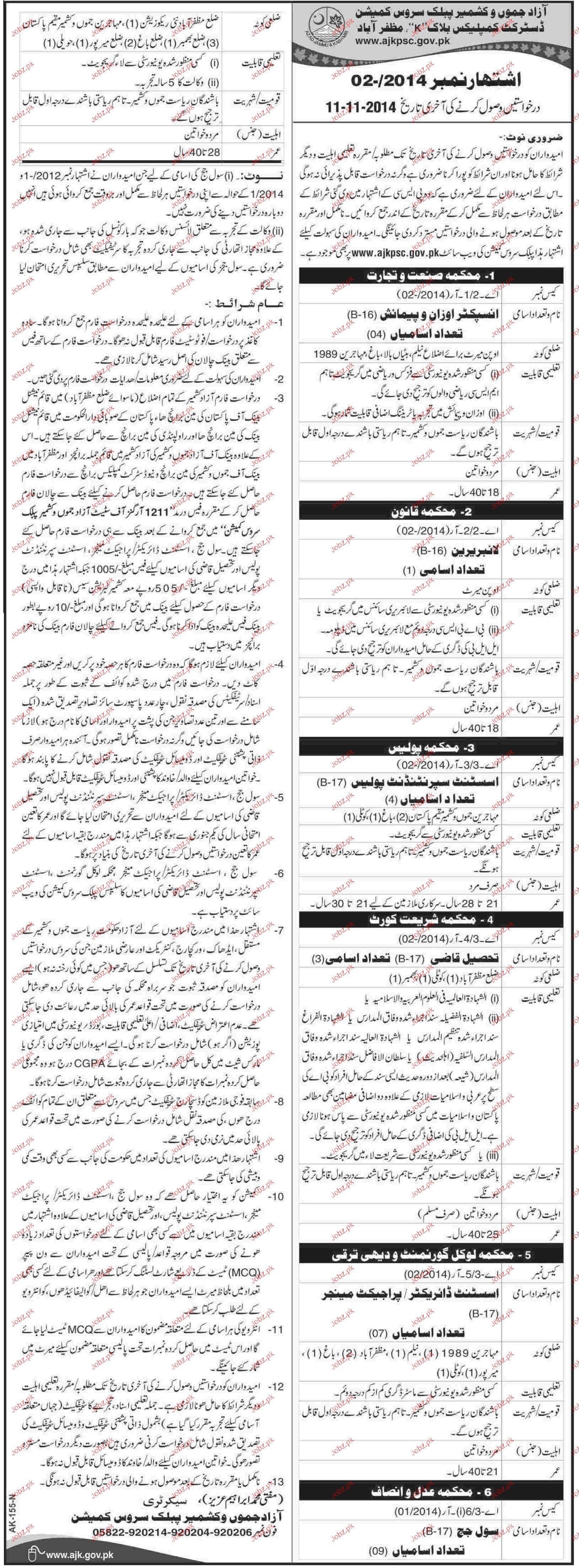 Inspectors, Librarian, Tehsile Qazis Job Opportunity