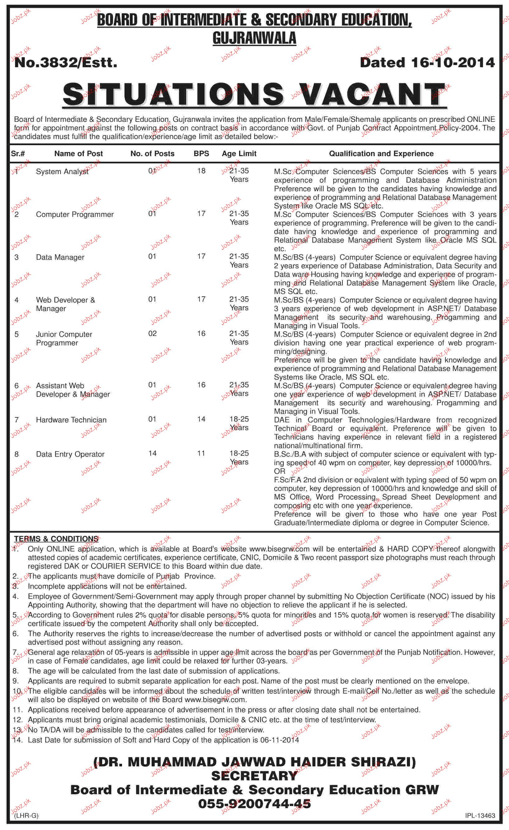 System Analyst Computer Programmers Job in BISE Gujranwala 2017 – Computer Programmer Job Description