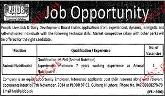 Animal Nutritionist Job Opportunity