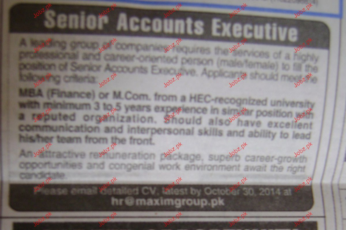 Senior Account Executives Job Opportunity