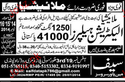 Electricians Helpers  Job Opportunity