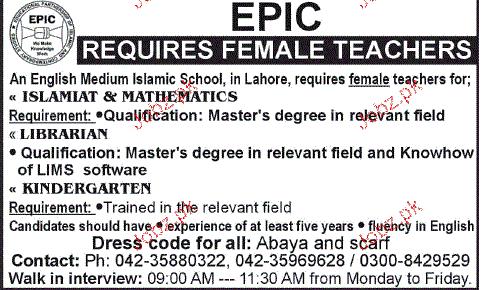Female Teachers Job Opportunity