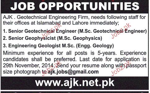 Senior Geologist, Engineering Geologist Job Opportunity