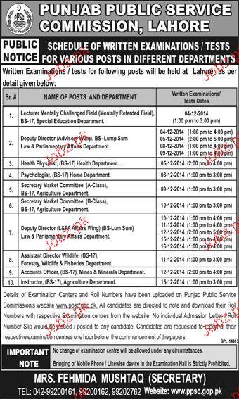 Lecturers, Deputy Directors, Health Specialists Job in PPSC