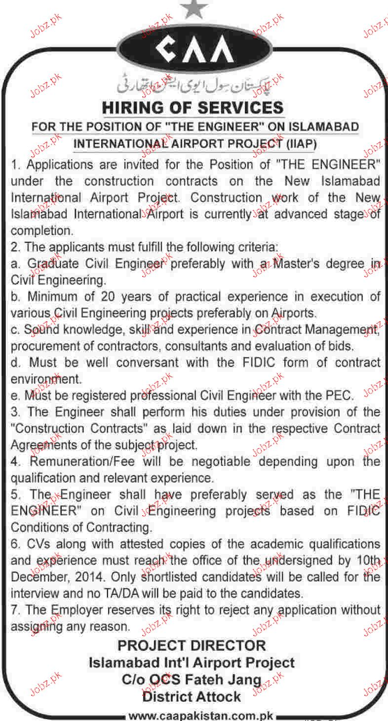 Engineers Job in Islamabad International Airport Project