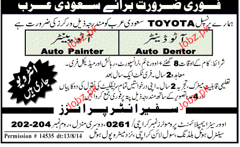 Auto Painters and Auto Dentor Job Opportunity
