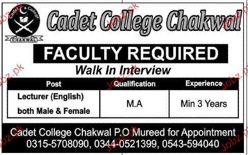 Lecturers Job in Cadet College Chakwal