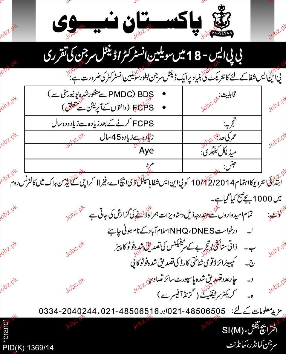 Civilian Instructors / Dental Surgeons Job in Pak Navy 2019