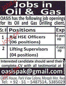 Rig HSE Officers  and Lift Supervisors Job Opportunity