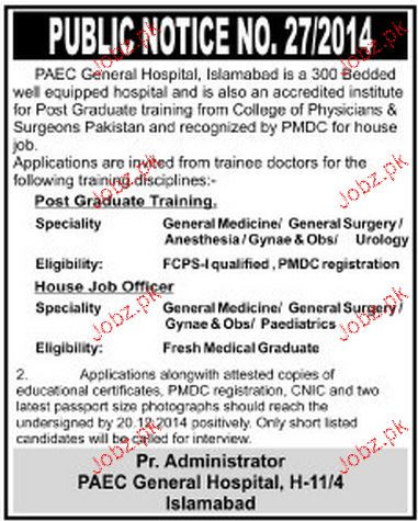 Doctors Job in PAEC General Hospital Islamabad
