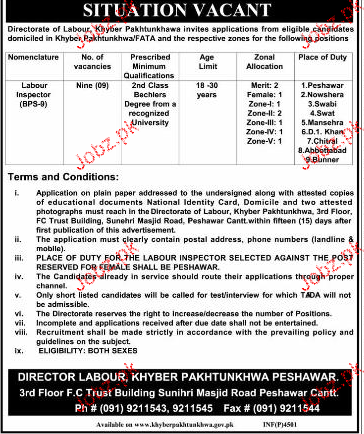 Labour Inspector Job  in Directorate of Labour